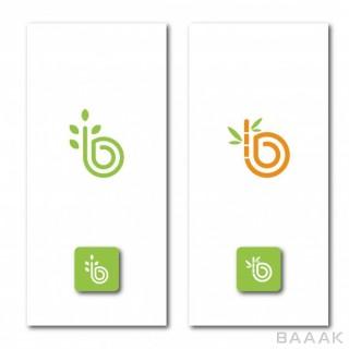 مجموعه قالب دو لوگو با حرف b انگلیسی و موضوع طبیعت
