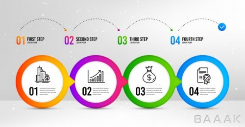 قالب اینفوگرافیک 4 مرحلهای همراه با آیکون برای ارائه