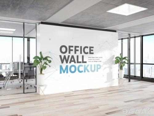 موکاپ طرح روی دیوار داخلی شرکت