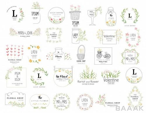 مجموعه قالب لوگو با زمینه گل و برگ
