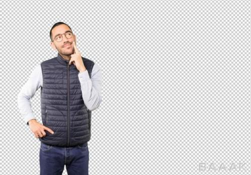 تصویر مرد در حال فکر کردن و حدس زدن بدون پس زمینه