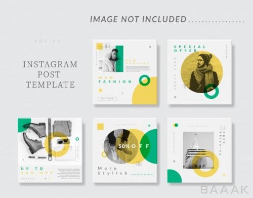 مجموعه قالب پست اینستاگرام با سبک مینیمال