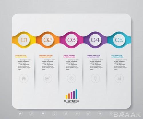 قالب اینفوگرافیک 5 مرحلهای مدرن برای بیزینس و کسب و کار