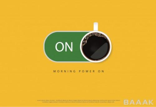 بنر تبلیغاتی با موضوع روشن شدن با قهوه
