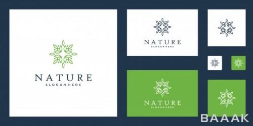 مجموعه لوگو روی بسته بندی محصولات با موضوع غذای ارگانیک
