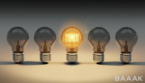 موکاپ لوگو داخل لامپ روشن