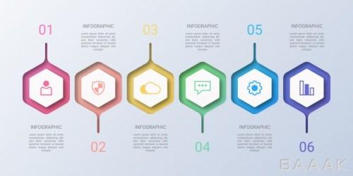 قالب اینفوگرافیک 6 مرحلهای رنگارنگ همراه با آیکون برای ارائه