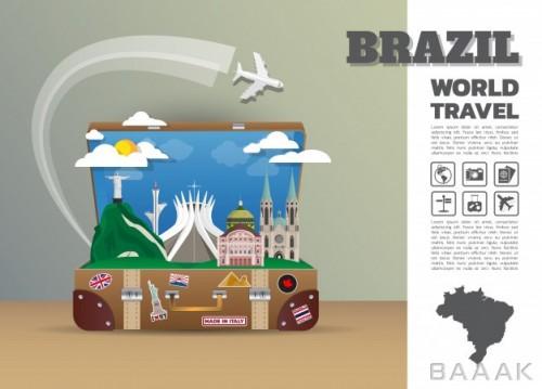 تصویر چمدان با تصاویر مکان دیدنی زیبای برزیل با موضوع مسافرت و جهانگردی