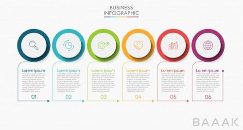 قالب اینفوگرافیک 6 مرحلهای همراه با آیکون برای ارائه کسب و کار