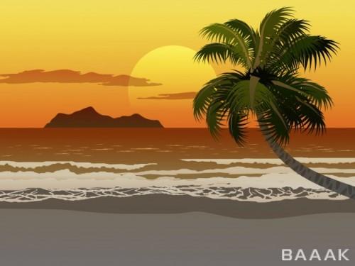 تصویر پس زمینه جذاب غروب آفتاب با تصویر درخت، دریا و کوه