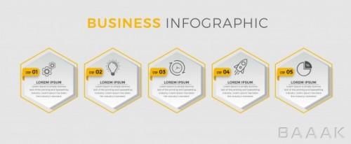 قالب اینفوگرافیک 5 قسمتی همراه با آیکون برای بیزینس و کسب و کار