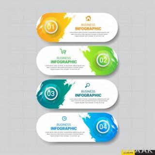 قالب اینفوگرافیک 4 قسمتی همراه با آیکون برای کسب و کار