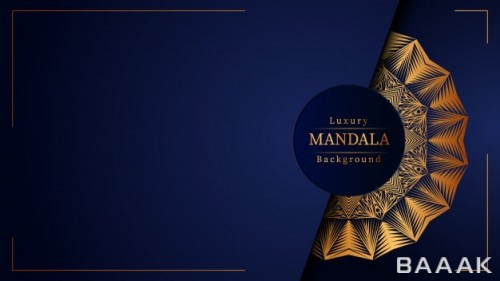 تصویر پس زمینه لوکس افقی طلایی و آبی رنگ با طرح ماندالا