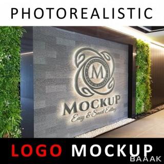 موکاپ لوگو سه بعدی روی دیوار شرکت