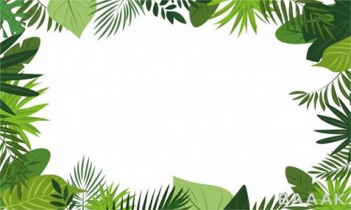 تصویر پس زمینه با فریم برگهای سبز رنگ