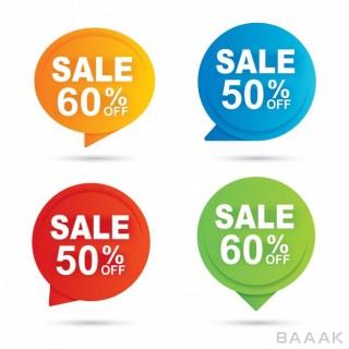 پس زمینه خاص و مدرن Sale circle banner multi color paper abstract background