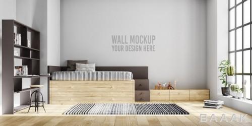 موکاپ دیوار اتاق خواب