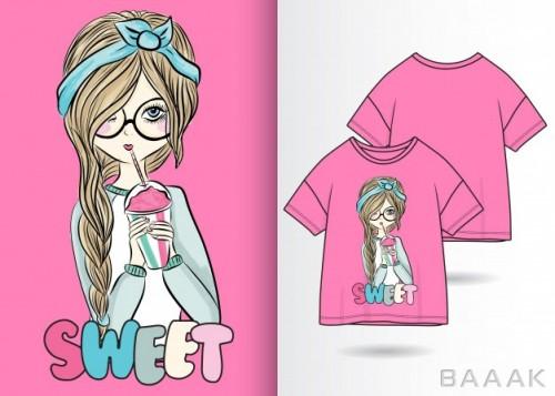 طرح تیشرت پرکاربرد Hand drawn cute girl illustration with t shirt design