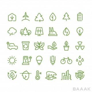 آیکون زیبا و جذاب Eco green environment line icons ecology recycling outline symbols