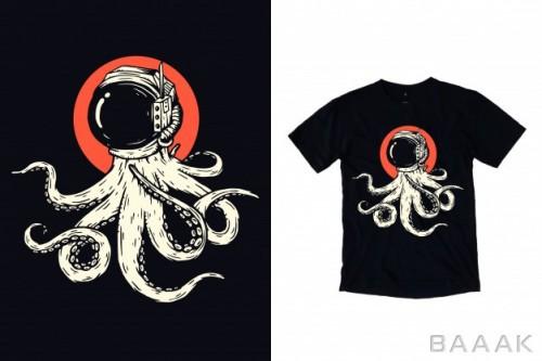 طرح تیشرت زیبا و خاص Octopus with astronaut helmet illustration t shirt design