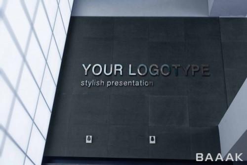 موکاپ لوگو سه بعدی استیل روی دیوار ساختمان