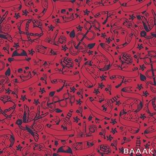پترن خاص و خلاقانه Seamless pattern with graphic tattoo symbols hand drawn elements classic tattoo