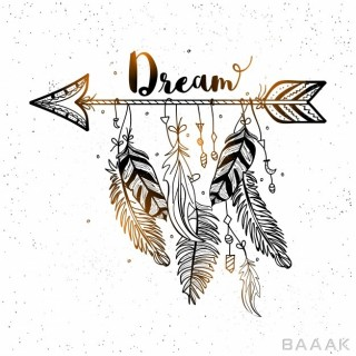 پس زمینه زیبا و خاص Beautiful background decorative arrow with feathers boho style