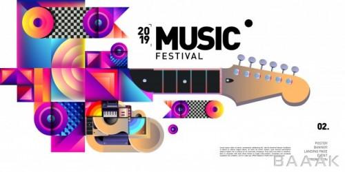 بنر زیبا و جذاب Vector colorful music festival event banner poster