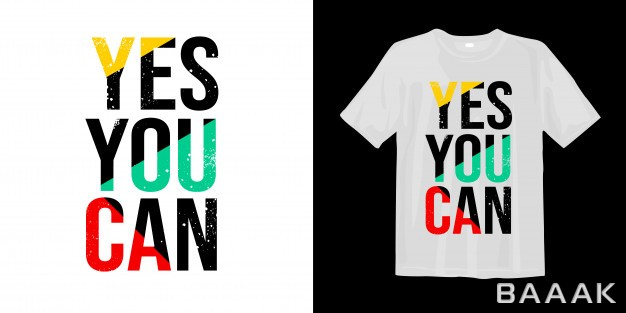 طرح-تیشرت-جذاب-Yes-you-can-motivational-quotes-t-shirt-design_864146804