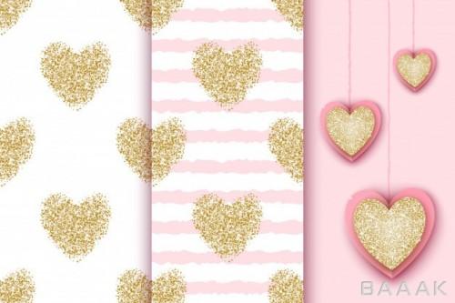 پترن طرح قلب های گلیتری طلایی رنگ با پس زمینه های مختلف