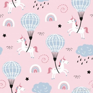 پترن مدرن Childish seamless pattern with cute unicorn air ballon