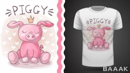 طرح تیشرت پرنسس خوک بامزه صورتی رنگ