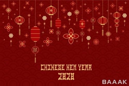 پس زمینه مدرن و خلاقانه Flat style imlek chinese new year template banner background