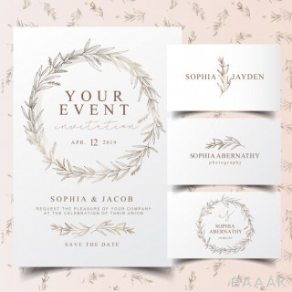لوگو مدرن و جذاب Elegant eucalyptus wreath invitation card logo design