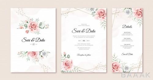 کارت دعوت زیبا و خاص Elegant wedding invitation card set template with beautiful flowers leaves watercolor