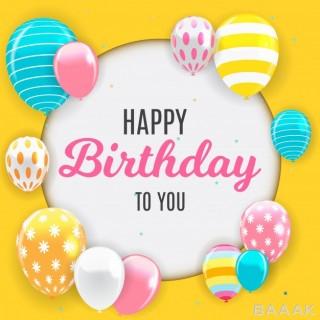 پس زمینه خاص و خلاقانه Glossy happy birthday balloons background