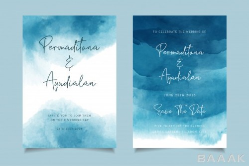 کارت دعوت زیبا و جذاب Blue ocean watercolor wedding invitation design