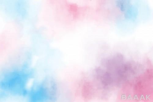 پس زمینه آبرنگی صورتی و آبی رنگ
