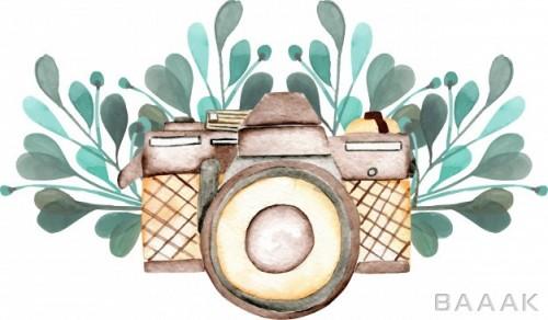 لوگو پرکاربرد Mockup logo with watercolor camera floral elements