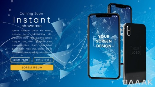 موکاپ صفحه نمایش تلفن همراه هوشمند با زمینه تکنولوژی