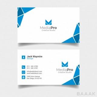 کارت ویزیت تجاری زیبا آبی و سفید