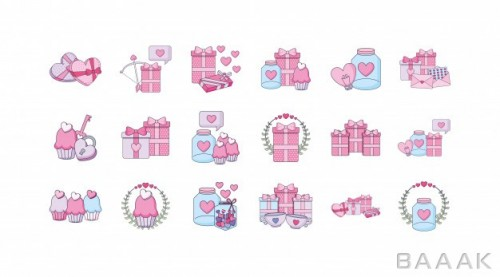 آیکون پرکاربرد Love valentines day icon set