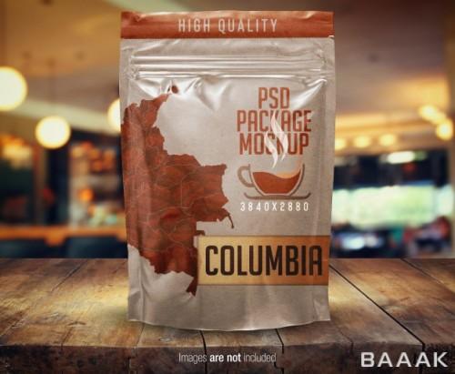 موکاپ بستهبندی پلاستیکی قهوه