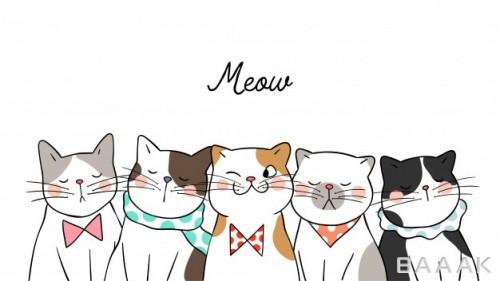 پس زمینه مدرن و جذاب Draw banner background portrait cute cats white