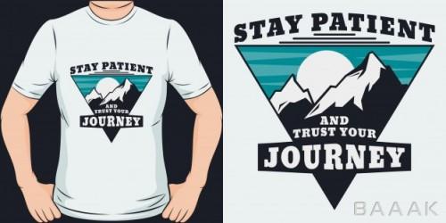 موکاپ خاص و مدرن Stay patient trust your journey unique trendy t shirt design mockup
