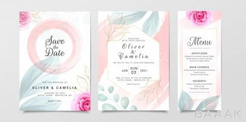 قالب کارت دعوت آبرنگی جشن عروسی به همراه گل های زیبا