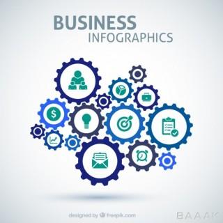 اینفوگرافیک خاص Business infographic with gears