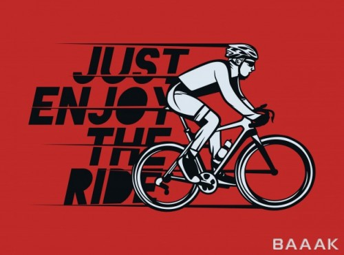طرح تیشرت خاص و مدرن Just enjoy ride t shirt design poster cycling quote slogan vintage style
