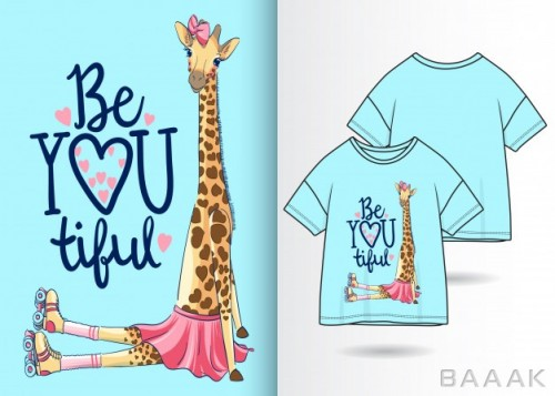 طرح تیشرت خاص Hand drawn cute giraffe illustration with t shirt design
