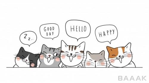طراحی دستی بچه گربه